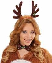 Carnavalskleding kerst diadeem rendier gewei strik roosendaal