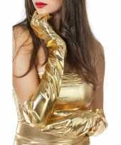 Carnavalskleding lange gouden handschoenen dames roosendaal