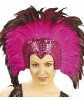 Carnavalskleding luxe hoofdtooi fuchsia roze veren volwassenen roosendaal