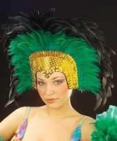 Carnavalskleding luxe hoofdtooi groen roosendaal