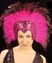 Carnavalskleding luxe hoofdtooi roze roosendaal