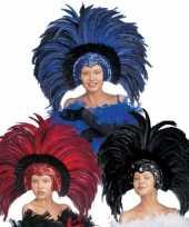 Carnavalskleding luxe hoofdtooi veren roosendaal