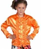 Carnavalskleding luxe oranje rouches blouse kinderen roosendaal