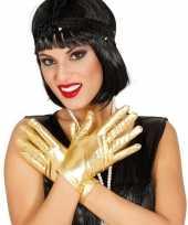 Carnavalskleding metallic gouden verkleed handschoenen kort roosendaal