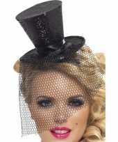 Carnavalskleding mini zwarte hoge hoed diadeem roosendaal