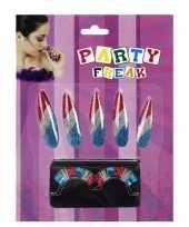 Carnavalskleding nagel wimper set rood wit blauw roosendaal