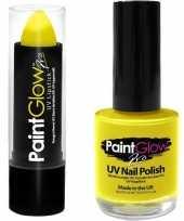 Carnavalskleding neon gele uv lippenstift lipstick nagellak schmink set roosendaal