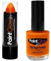 Carnavalskleding neon oranje uv lippenstift lipstick nagellak schmink set roosendaal