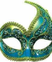 Carnavalskleding oogmasker blauw goud roosendaal