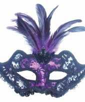 Carnavalskleding oogmasker zwart paars roosendaal