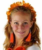 Carnavalskleding oranje hawaiikrans verkleed tiara hoofdband dames roosendaal
