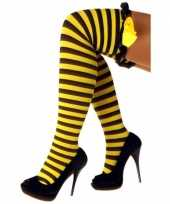 Carnavalskleding overknee kousen bijen motief ruches roosendaal