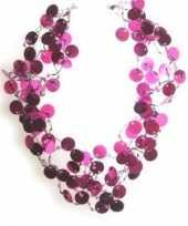 Carnavalskleding pailletten ketting roze roosendaal