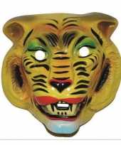 Carnavalskleding plastic gele tijger masker volwassenen roosendaal
