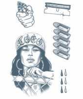 Carnavalskleding realistische crimineel tattoos vel roosendaal