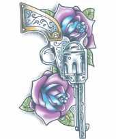 Carnavalskleding realistische revolver tattoo vel roosendaal