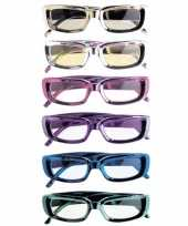 Carnavalskleding rechthoekige glimmende brillen roosendaal