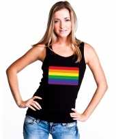 Carnavalskleding regenboog vlag singlet-shirt tanktop zwart dames roosendaal