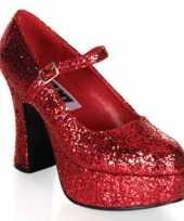 Carnavalskleding rode dames glitter schoenen roosendaal