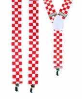 Carnavalskleding rood wit geblokte bretels roosendaal