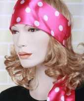 Carnavalskleding roze hoofd sjaal wit bollenmotief roosendaal