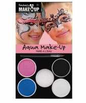 Carnavalskleding schminkset roze blauw zilver wit zwart roosendaal