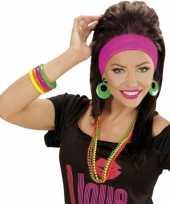 Carnavalskleding set armbanden neon kleuren roosendaal