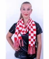 Carnavalskleding sjaal rood wit geblokt roosendaal