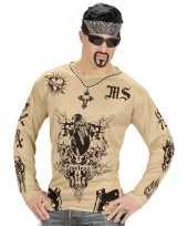 Carnavalskleding tattoo verkleed shirt gangster heren roosendaal