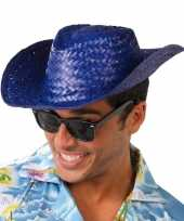 Carnavalskleding toppers blauwe cowboy strohoed volwassenen roosendaal