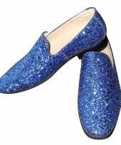 Carnavalskleding toppers blauwe glitter pailletten disco instap schoenen heren roosendaal