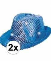 Carnavalskleding toppers blauwe pailletten hoedjes led licht roosendaal