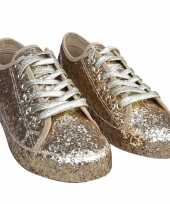 Carnavalskleding toppers gouden glitter disco sneakers schoenen dames roosendaal
