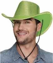 Carnavalskleding toppers groene cowboyhoed howdy pailletten volwassenen roosendaal