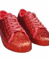 Carnavalskleding toppers rode glitter disco sneakers schoenen dames roosendaal