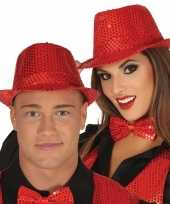 Carnavalskleding toppers rode trilby verkleed hoed pailletten volwassenen roosendaal