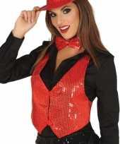 Carnavalskleding toppers rode verkleed gilet pailletten dames roosendaal