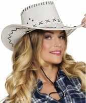 Carnavalskleding toppers witte cowboyhoed elroy lederlook volwassenen roosendaal