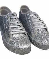 Carnavalskleding toppers zilveren glitter disco sneakers schoenen dames roosendaal