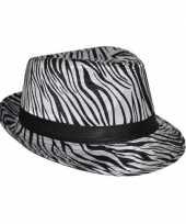 Carnavalskleding trilby hoedje zebra print roosendaal