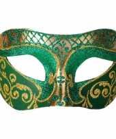 Carnavalskleding venetiaans glitter oogmasker groen goud roosendaal