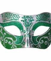 Carnavalskleding venetiaans glitter oogmasker groen zilver roosendaal