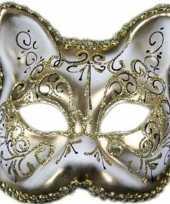 Carnavalskleding venetiaans katten poezen gezichtsmasker wit goud roosendaal