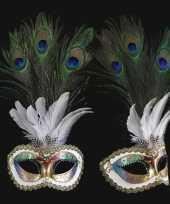 Carnavalskleding venetiaans pauwveren oogmasker gekleurd roosendaal