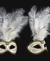 Carnavalskleding venetiaans veren oogmasker wit goud roosendaal