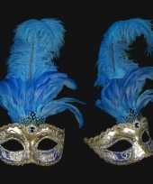 Carnavalskleding venetiaans veren oogmasker zilver blauw roosendaal