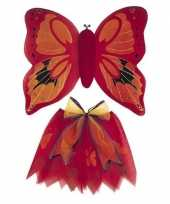Carnavalskleding vlinder vleugels verkleed set rood kinderen roosendaal
