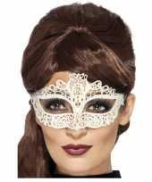 Carnavalskleding wit kanten oogmasker dames roosendaal