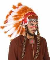 Carnavalskleding wit oranje luxe indianen tooi heren roosendaal