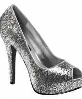 Carnavalskleding zilveren glitter peep toe pumps roosendaal